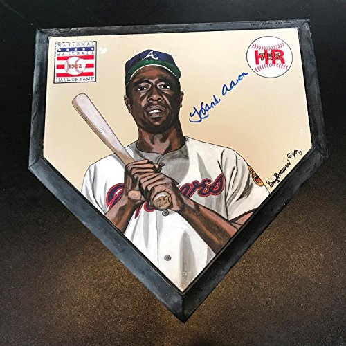 (Beautiful Hank Aaron Signed Original Hand Painted Home Plate Art COA - PSA/DNA Certified - Autographed MLB Art)