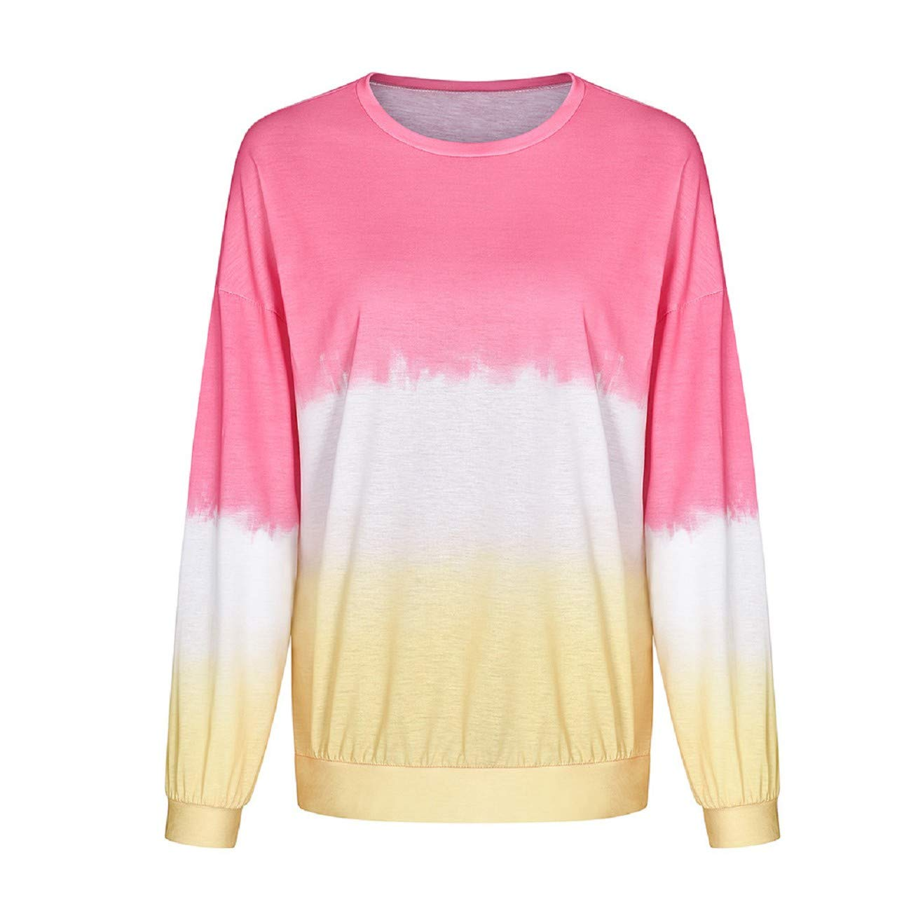 Tsmile Women Gradient Color Shirt Casual Round Neck Contrast Color Long Sleeve Fall Trendy Tops Pullover Sweatshirt