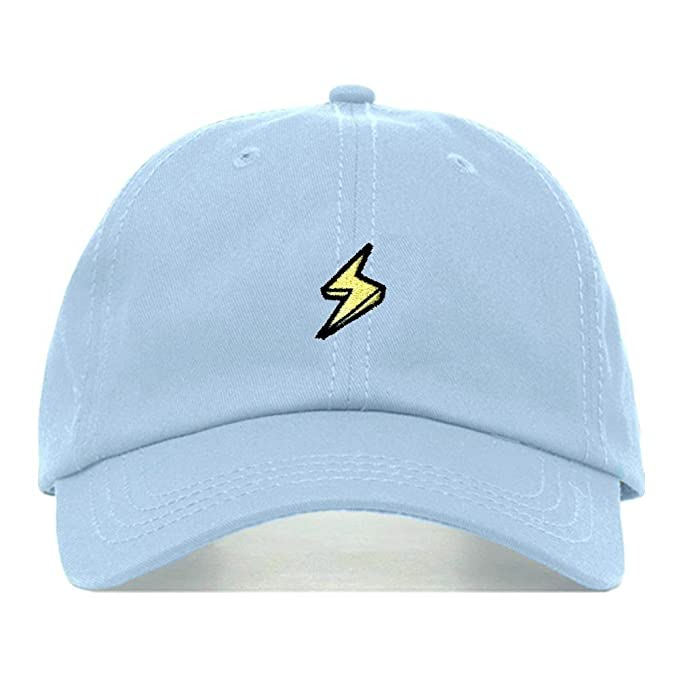 3b2e0422 Lightning Bolt Dad Hat, Embroidered Baseball Cap, 100% Cotton, Unstructured  Low Profile