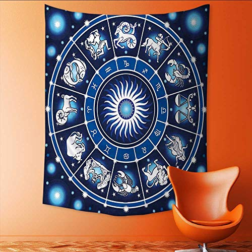 Auraisehome Tapestry Wall Tapestry Zodiac by of Astrology Signs in CircleCh with Stars Birth Fortune Blue White Art Wall Decor 40W x 60L INCH