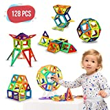 Magnetic Building Blocks - 128 pcs Large Set - 3D Educational Toys for Boys and Girls - Great for 3+ Years Old Toddlers and Kids - Tiles with Innovative Build Magnets - Great Gift for Children!