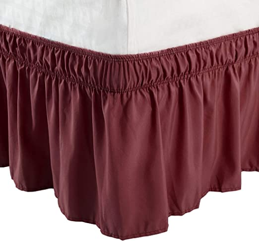 "TWIN SIZE WRAP AROUND 14/"" DROP BED SKIRT DUST RUFFLE  BURGUNDY"