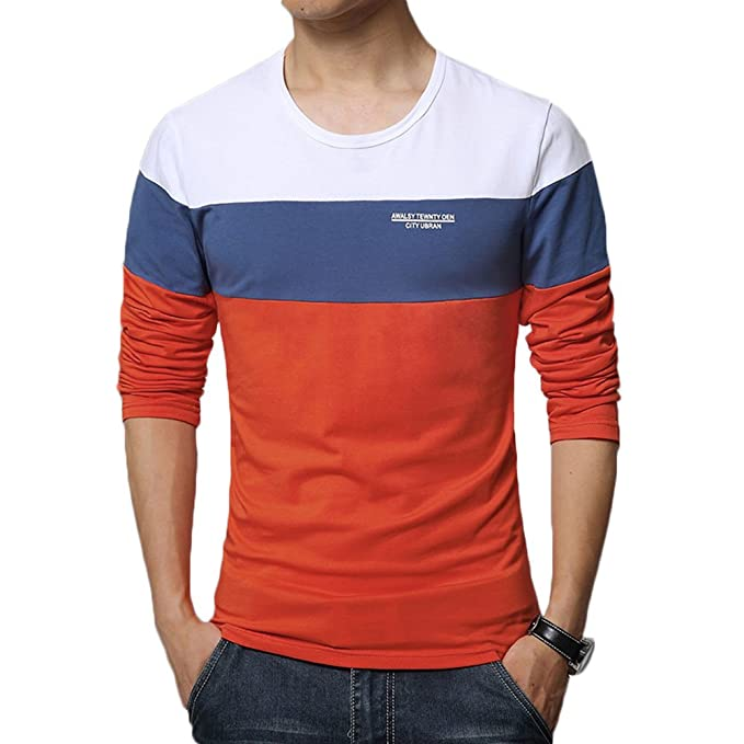 626b89ec9 8sanlione Mens Casual Cotton Fitted Short-Sleeve/Long Sleeve Contrast Color  T-Shirt