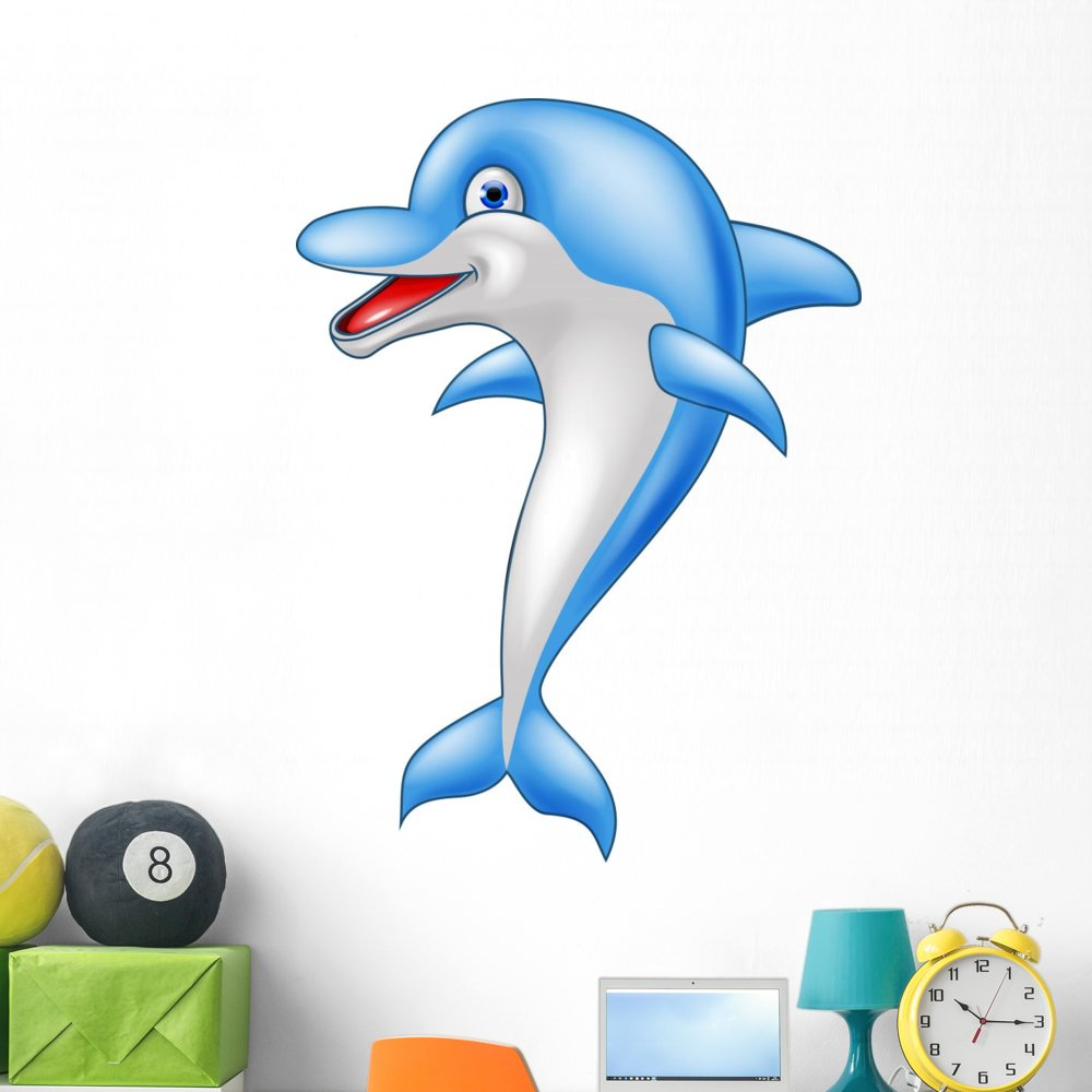 Wallmonkeys Happy Dolphin Cartoon Wall Decal Peel and Stick Graphic (48 in H x 36 in W) WM134938