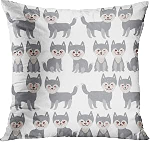 Sayakki Throw Pillow Cover Square 18 X 18 Inch Kawaii Funny Gray Husky Dog Face Large Eyes Pink Cheeks Boy Girl White Cushion Home Decor Living Room Bedroom Office Polyester Pillowcase