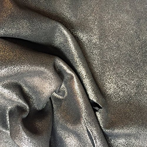 Leather Metallic Calfskin (Genuine Metallic Leather Hide – Soft Black Silver Skins – Real Calfskin Fabric - 5 sq ft - 2 oz. avg Thickness - Upholstery Material – Craft DIY Supply – Craft DIY Wholesale Supply – Rustic Finish)