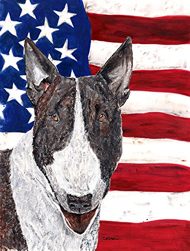 Caroline's Treasures SC9519GF Bull Terrier USA American Flag, Small, Multicolor