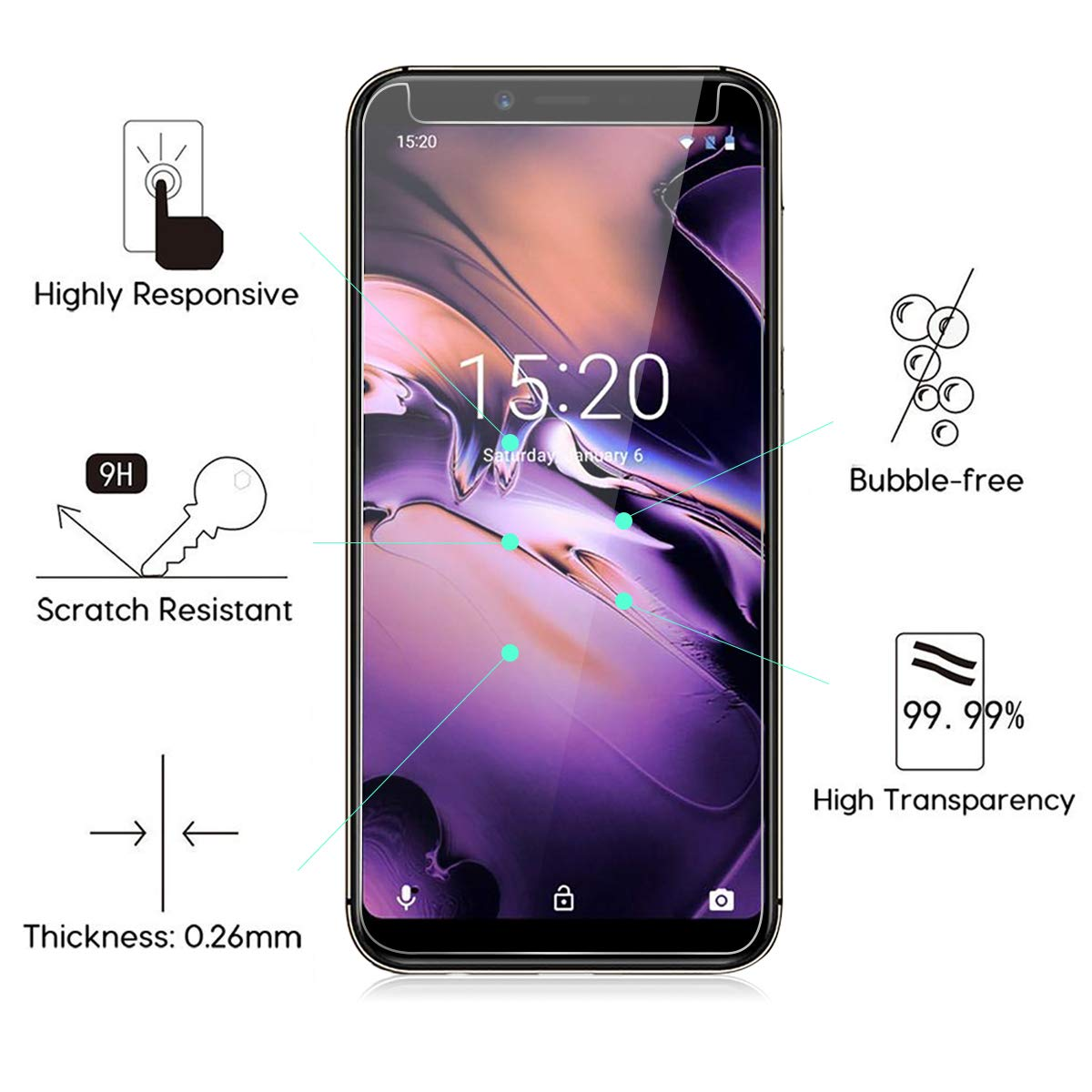 2-Pack HD 2.5D 9H Protective Film Protector Anti-fingerprint Bubble-Free Tempered Glass Screen Protector for UMIDIGI A3 Screen Protector for UMIDIGI A3