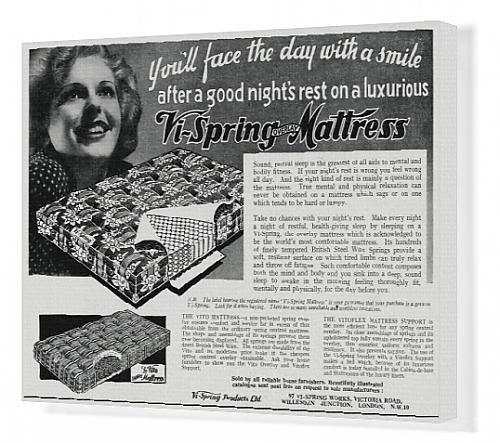 Impresión de Lienzo de anuncio de vi-Spring colchón 1938: Amazon.es: Hogar