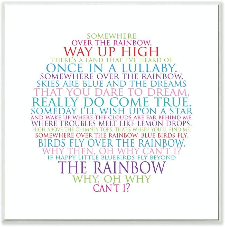 The Kids Room by Stupell Somewhere Over The Rainbow Circle Typog Wall Plaque, 12x12, Design By Artist Susan Newberry Designs