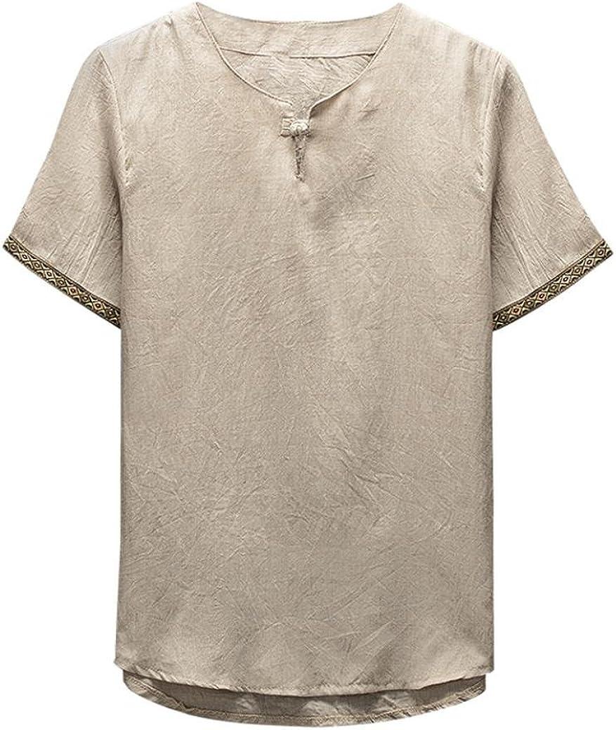 Fuibo V/êtements Lin Chemise Homme /Ét/é Chemise Shirt D/écontract/ée Manches Courtes Slim Fit Blouse Tops Confortable Respirant