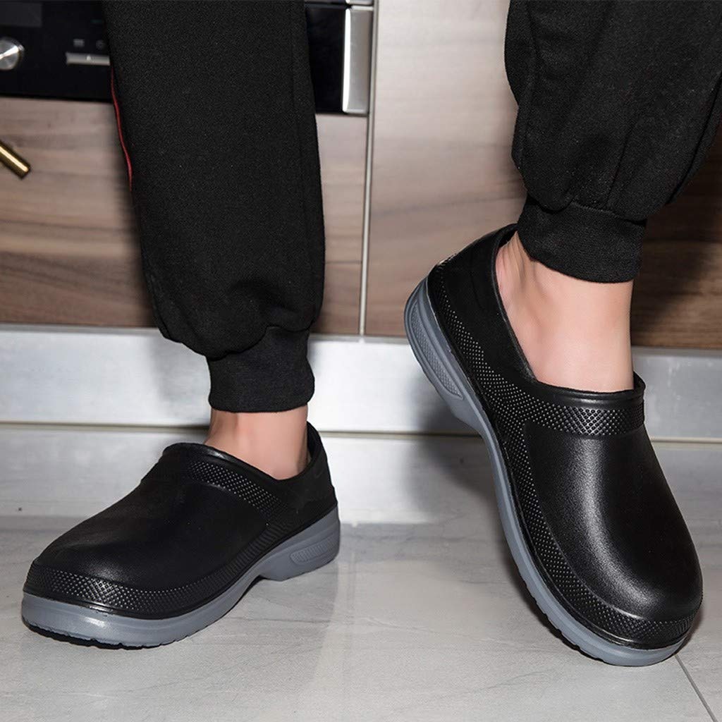 Mosunx Slip Oil Resistant Slip-on Mens Work Shoes Chef Solid Color Waterproof Round Toe Casual Shoes