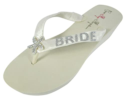 74b1e0c0b7d23 Starfish Glitter Wedding Flip Flops for Bride Wedge Bridal Ivory White  Platform Heel Shoes Sandals Beach
