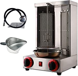 Li Bai Doner Kebab Shawarma Machine Gyro Grill Vertical Broiler with 2 Burner Commercial 110v Stainless Steel Natural Gas for Restaurant Home Kitchen