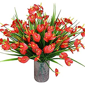 Mona's Artificial Anthurium Flowers Fake Greenery Plants Faux Plastic Wheat Grass Shrubs Table Centerpieces Arrangements Home Kitchen Indoor Outdoor Decorations Pack of 4 Red 116