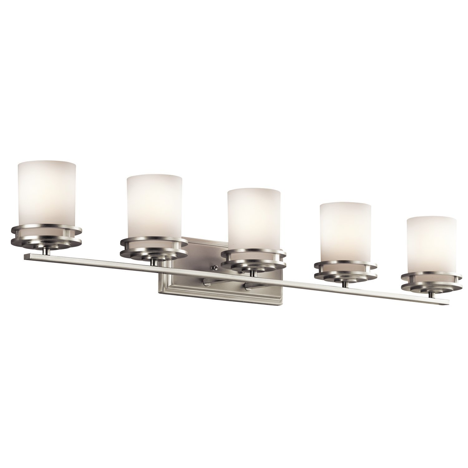 Kichler 5085ni hendrik glass wall vanity lighting 5 light brushed nickel amazon com