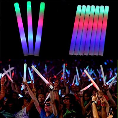 Peyan 12PCS LED Foam Sticks - Glow in The Dark Flashing Light-up Toys Glowsticks Party Supplies for Birthday, Wedding, Halloween, Christmas: Toys & Games