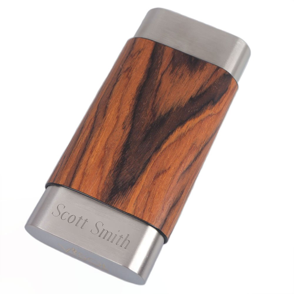 Personalized Visol Terran Natural Wood & Stainless Steel Cigar Case - Large Ring Gauge Cigars