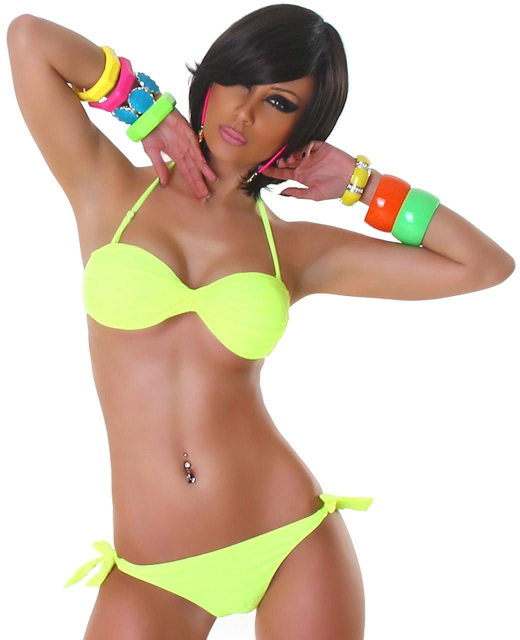 P.F. Damen Bandeau-Neckholder-Bikini im gedrehten Design  Amazon.de   Bekleidung f65c17e5d0