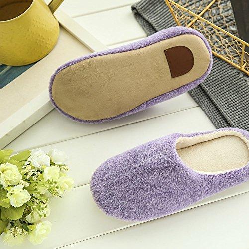 Norbi Unisex Home Indoor Wasbaar Comfort Pluche Antislip Slippers Schoenen Paars