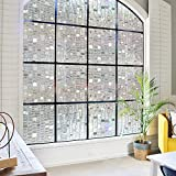 3D Static Cling Window Film Decorative Window Film No Glue Privacy Film,Stained Glass Window Film for Bathroom Shower Door