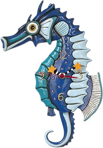 Allen Designs P1468 Swinging Pendulum Clock Salty Seahorse Design 10.25 inches X 13 inches