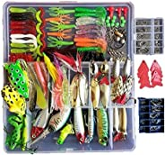 Lv Bao 275PCS Fishing Lures Set Tackle Including Crankbaits, Spinnerbaits, Plastic Worms, Jigs, Topwater Lures