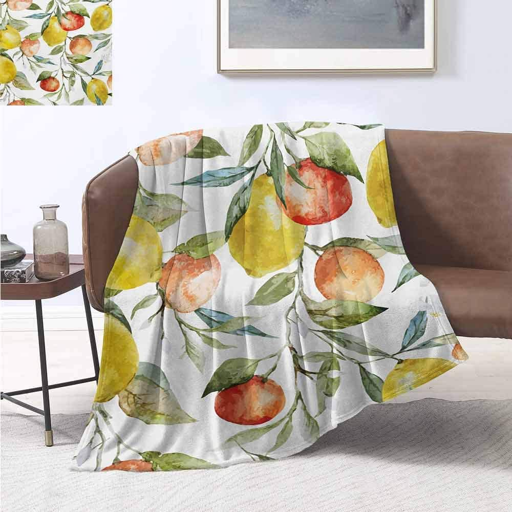 jecycleus Nature Bedding Microfiber Blanket Lemon and Orange Clementine Tree Branches Fruit Yummy Winter Season Vitamin Design Super Soft and Comfortable Luxury Bed Blanket W60 by L70 Inch Multicolor