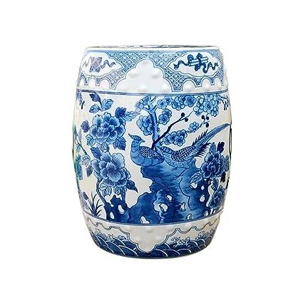 Blue And White Bird Motif Chinese Porcelain Garden Stool
