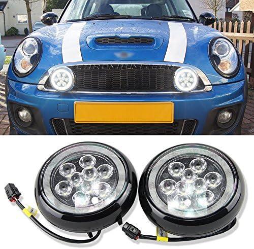 [해외]블랙 마감 LED 랠리 운전 주간 러닝 라이트 W헤일로 링 DRL 라이트 미니 랠리 드라이빙 안개등 미니 쿠퍼 R55 R56 R57 R58 R60 R61 / Black Finish LED Rally Driving Daytime Running Lights WHalo Ring DRL Lights Mini Rally Driving Fog Light F...