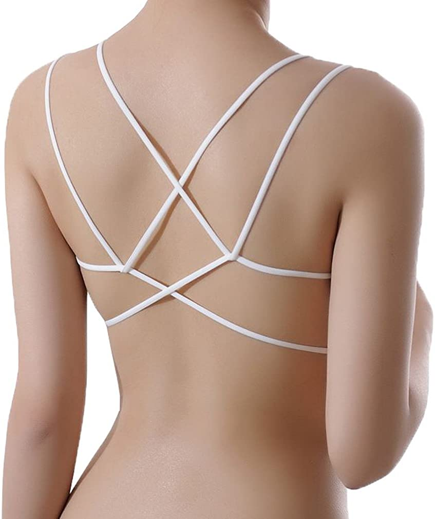 COMVIP Women Cross Back Stretchy Solid Strappy Sports Yoga Bra