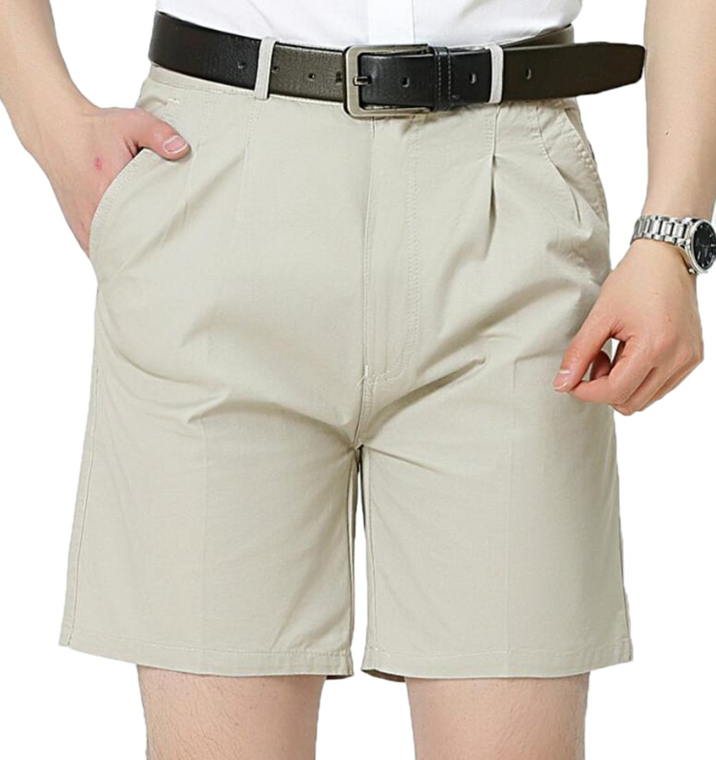 CRYYU-Men Casual Solid Expandable-Waist Oxford Pleat-Front Shorts