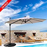 PATIOROMA Commerical 10 Feet Aluminum Solar Powered LED Offset Cantilever Outdoor Patio Umbrella with Bluetooth Stereo Speaker and Steel Cross Base, 250g/sqm