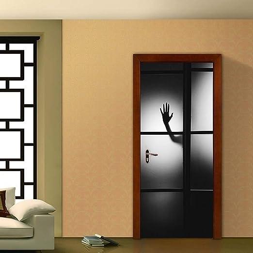 XIAOXINYUAN Pegatinas De Puerta 3D DIY Extraíble Impermeable Sombra Mano Etiqueta De La Pared Murales Wallpaper para Habitación Dormitorio Puerta Hogar Decoración De Navidad: Amazon.es: Hogar