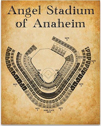 Angel Stadium of Anaheim Baseball Seating Chart - 11x14 Unframed Art Print - Great Sports Bar Decor and Gift for Baseball (Angel Chart)