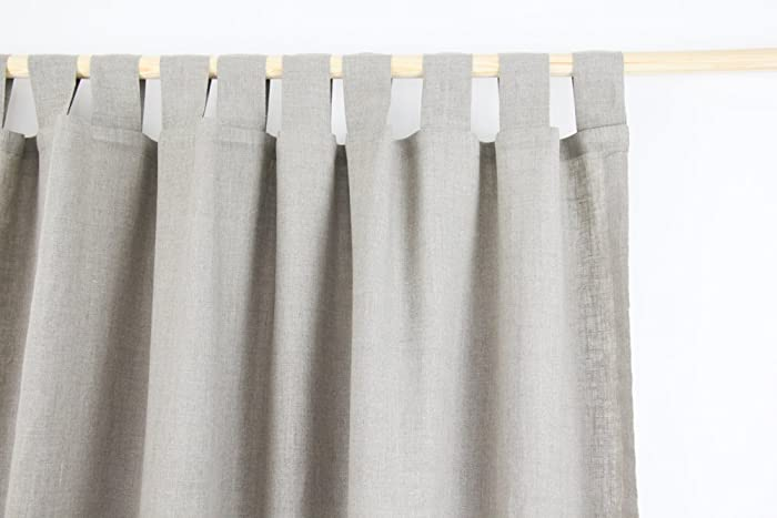 Tab Top Linen Curtain Panel / NATURAL LINEN COLOR / homey style ...