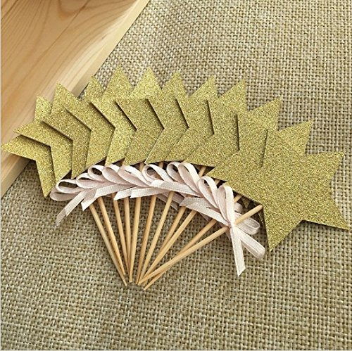Price comparison product image Decoration Glitter Double-sided Star Handmade Toppers Picks, birthday Decorations, baby Shower Cupcake Toppers 12pcs