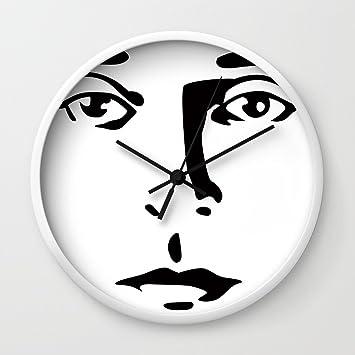 Amazon.com: Society6 Silent Stars - Buster Keaton Wall Clock White ...