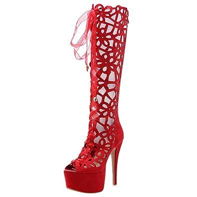 UH Damen Extreme High Heels Plateau Sommerstiefel Cut Out Stiletto Kniehoch Sandalen mit Schnürung Peep Toe Schuhe holwcJ
