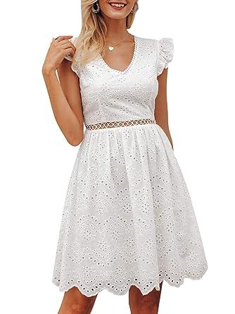 BerryGo Women s Elegant Lace Ruffle Mini Dress Sleevesless Cotton A ... 504415cdf