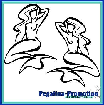 2x Meerjungfrau schwungvoll gezeichnet ca. 30x20 cm Aufkleber aus ...