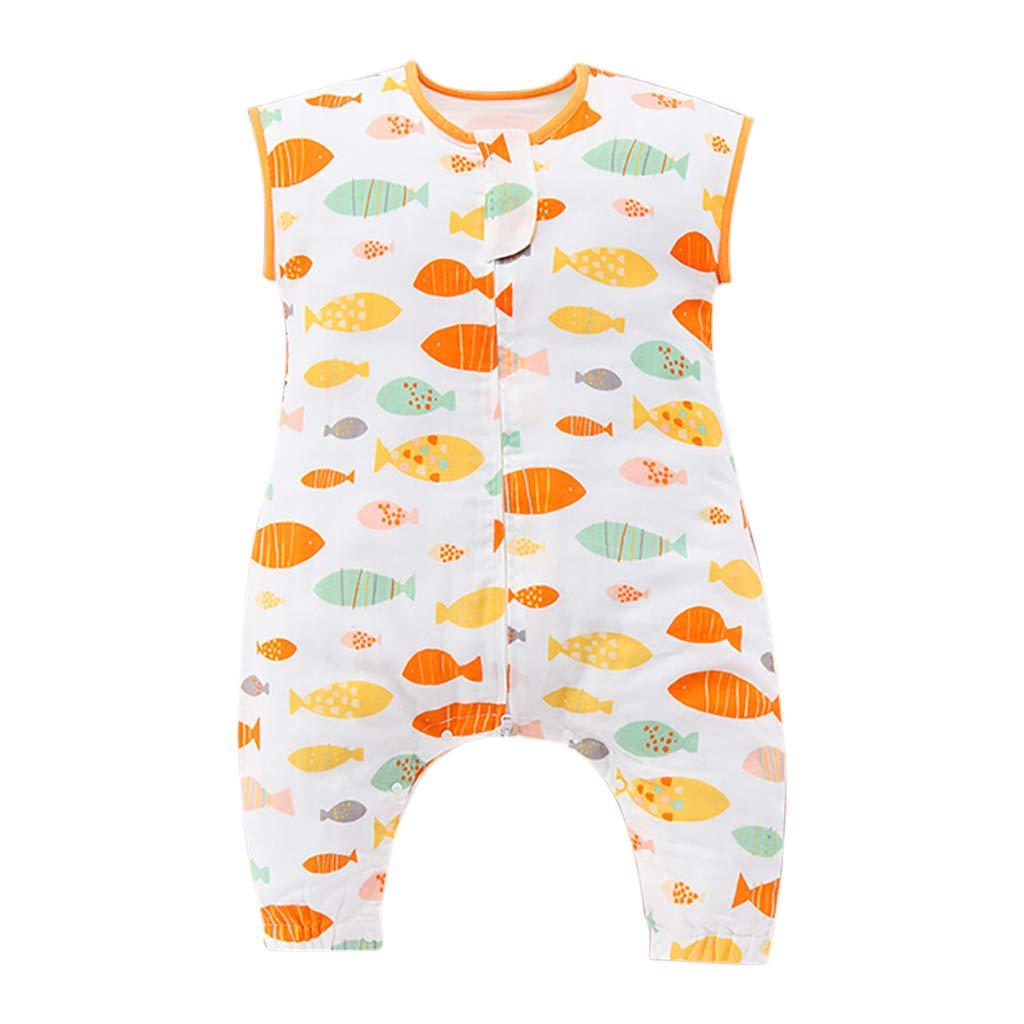 HUYP 赤ちゃんの寝袋夏の薄い赤ちゃんの寝袋足春と夏のエアコン部屋子供アンチキック (色 : Orange A-2 layer, サイズ さいず : 120 yards) 120 yards Orange A-2 layer B07P53GDQS