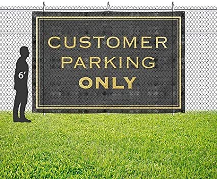 Customer Parking Only CGSignLab Classic Gold Wind-Resistant Outdoor Mesh Vinyl Banner 12x8