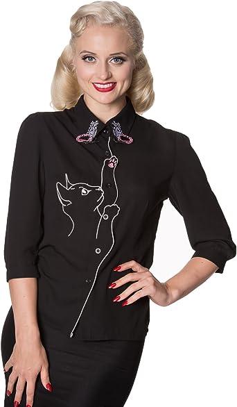 Banned Camisa Días de Baile de con Nieve Pájaro Gato Mariposas de Estilo Retro Vintage de Los Años 50s: Amazon.es: Ropa y accesorios