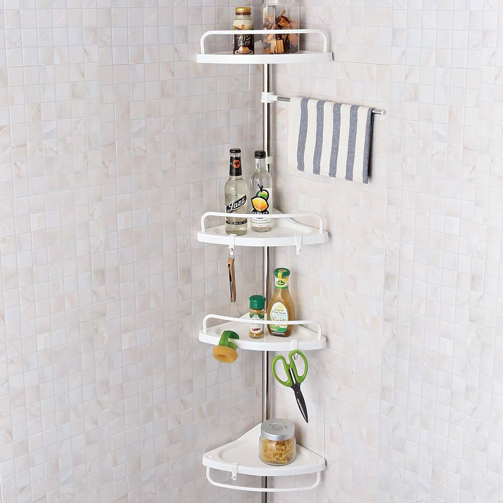 SHOPPERS STOP 4-Tier Stainless Steel Bathroom Corner Shelf with Adjustable Height