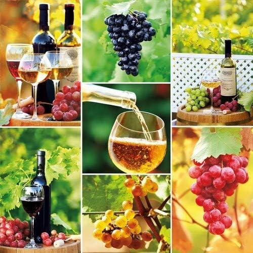 20 servetten kostbaarheid van wijn als tafeldecoratie voor liefhebbers van dranken 33x33cm