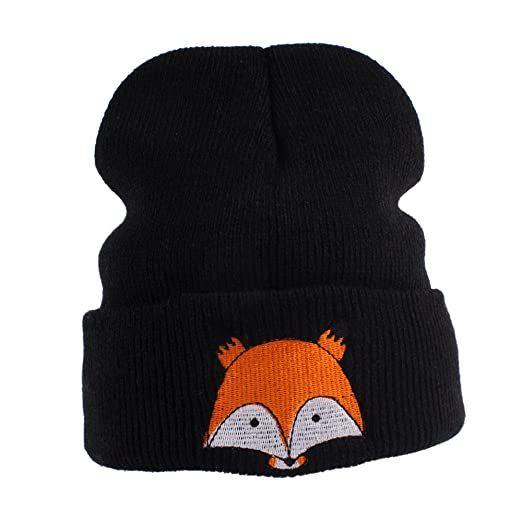 LCY Baby Wool Knitted Fox Hats Baby Kid Children Hooded Caps Skl Hat (black) 82f621b43d1