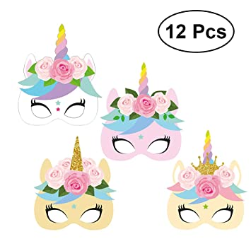 Yeahibaby Máscaras de Unicornio | 12pcs, Máscara de Papel Facial Animal, Niños Favores de