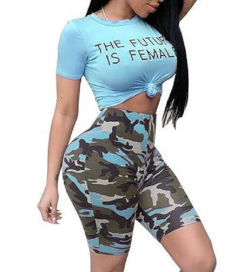 Jotebriyo Women Short Sleeve 2 PCS Outfits Printed Crop Tops Bodycon Biker Shorts Set