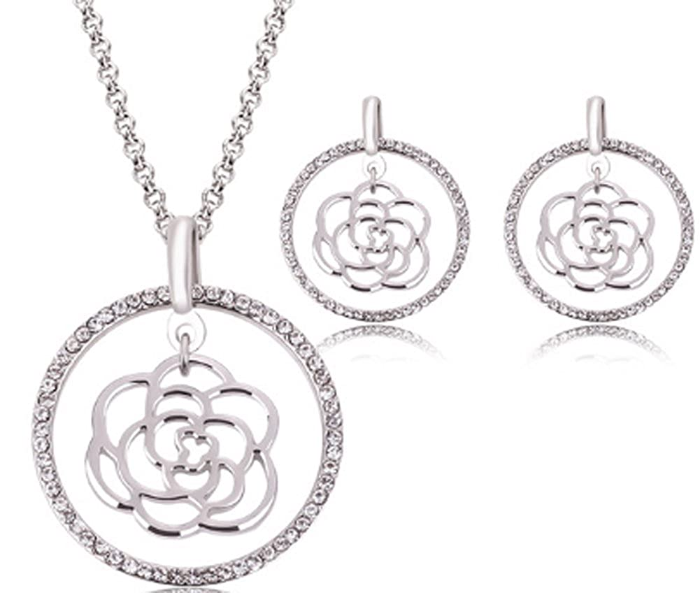 Jewelry Sets For Women Rose Pendant /&Crystal Necklace Richy-Glory